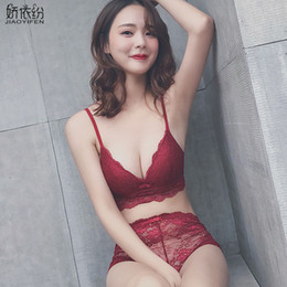Sexy Lace Comfortable Wire Free Brassiere Embroidery Women Underwear Set  Hot Sale Unlined Push Up Bra Set and AB Cup Panty Sets ad78fa932