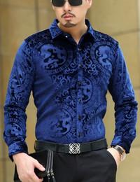 Mens Black Shirt Patterns NZ - Top Fashion Trendy Luxury Mens Silk Shirts Formal Turn Down Collar Black Blue Velvet Shirt Slim Fit Dragon Pattern Shirts