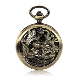 $enCountryForm.capitalKeyWord UK - Vintage Chinses Flying Dragon&Phoenix Pendant Bronze Tone Cable Chain Pocket Watch Mechanical Hand Wind Gift Watch w Chain