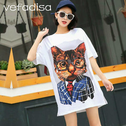 605b4742762f4 Vefadisa 2018 Summer Tops Tees Short Sleeve White Shirts with Sequins Cute  Cat Pattern T Shirt Plus Size Long Shirts AD1618