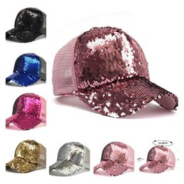 Girl sexy hat online shopping - Mermaid Sequins Baseball Hats Women Girls Summer Ball Cap Curved visor Messy Glitter Ponytail Snapback Cap for men women trendy Hip Hop hat