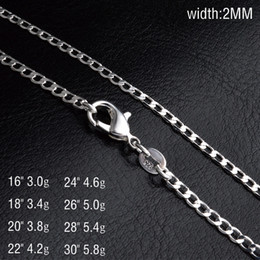 wholesale bulk copper chain NZ - Wholesale 2MM 925 sterling silver Side chains necklace 16 18 20 22 24 26 28 30 inches fashion Jewelry in bulk