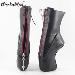 "Chinese  Wonderheel new super high heel 7"" wedges heel YKK locked zipper matte black sexy fetish lace up curved heel ankle ballet boots manufacturers"