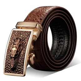 designer genuine leather belts NZ - High Quality Crocodile Designer Belts Automatic Belts Luxury Genuine Leather Fashion Strap Male Jeans For Man Cowboy