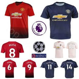 68499afe4 Manchester United Jersey 2018 2019 Man Soccer 6 POGBA 9 LUKAKU 11 MARTIAL  14 LINGARD 10 RASHFORD Football Shirt Kits Uniform Team Red