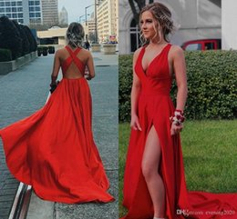 Red Dress V Neck Straps Australia - 2019 Sexy Red Prom Dresses Deep V Neck Sleeveless Side Split Criss Cross Straps Back Evening Dresses Free Shipping