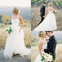 $enCountryForm.capitalKeyWord Australia - Simple Sheer Neckline Cheap Country Wedding Dresses Sexy Stunning Receptions Bridal Gowns Tulle Open Back Plus Size Vintage Boho Summer