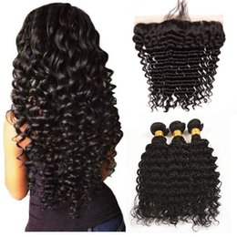 Discount malaysian curly hair closure piece - 10a Brazilian Deep Wave Jerry Curly 3 Piece Virgin Hair Bundles With 13*4 Lace Closure Wholesale Price 100% Human Hair B