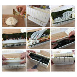 SuShi SetS online shopping - 10ps set DIY plastic kitchen utensils cooking cutter sushi maker roll roller sandwich seaweed nori rice easy mold mould tool