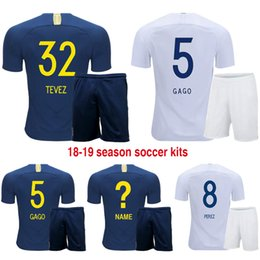 2018 19 Boca Juniors Home Away Men Football Kit Soccer Sets of Jersey    Shorts Male CARLITOS TEVEZ GAGO PEREZ OSVALDO Soccer Outfit Uniforms 1743cee3fd845