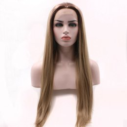 Full head wigs online shopping - Ash Blonde Synthetic Lace Front Wig Long Straight Blonde Full Head Half Hand Tied Wigs For Black Women