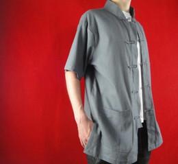 $enCountryForm.capitalKeyWord Canada - 100% Cotton Grey Kung Fu Martial Arts Tai Chi Shirt Clothing XS-XL or Tailor Custom Made