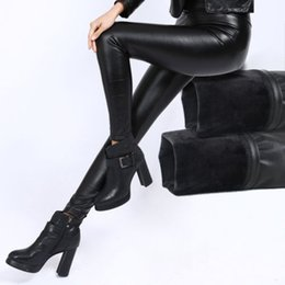 Discount hot black stretch pants - 2018 Winter New Style Womens Ladies Warm Thick Black PU Leather Skinny Slim Footless Leggings Stretch Pants Hot Fashion
