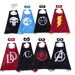 Wholesale 8 style superhero cape and mask for kids The Avengers Catwoman S H E L D Fatastic Four superhero costume Cape child Christmas birthday gift