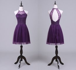 Discount europe lights - Elegant Hanging Neck Purple Prom Dresses Short Back Hollow Tulle Party Pleated Skirt Europe And The United States Cockta