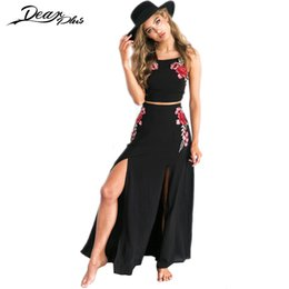 cbdbb7a6be Crop Top Maxi Skirt Set Canada - Floral Embroidery Maxi Skirt Suit Women  Sexy Crop Top