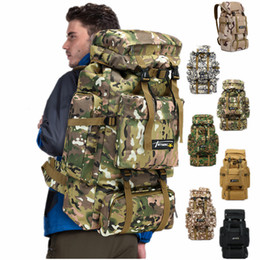 Discount army backpacks camo - 70L Camo Tactical Backpack Military Army Waterproof Hiking Camping Backpack Travel Rucksack Outdoor Sports Climbing Bag