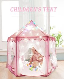 Discount castle playhouse - Pink Blue Green Portable Princess Castle Tent Children Activity Fairy House Funny Indoor Outdoor Playhouse Baby Beach Te