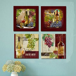 Piece kitchen wall art canvas online shopping - 4 Piece Modern Kitchen Grape Red Wine Cup Bottle Canvas Paintings Wall Art Set Bar Dinning Decor Wall Picture for Living Room