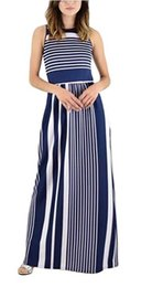 cotton maxi dress pockets UK - 2 dresses with sleeveless striped vest, long skirt and pocket for summer women's wear in Europe and America in 2018
