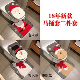 Two piece baThroom online shopping - New Christmas Decoration Toilet Set Bathroom Creative Set Dress Up Two piece Christmas Decorations Wedding Party Gifts