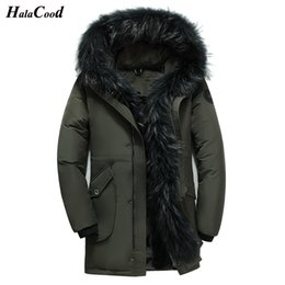 Wholesale HALACOOD Winter Big Genuine Fur Hood Duck Down Jackets Men Warm High Quality Down Coats Male Casual Winter Outerwer Parkas