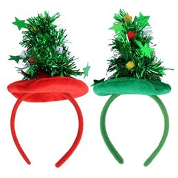 Discount head band supplies - 1pc Creative Christmas Tree Head Hoop Christmas Hair Head Bell Red Antler Band Buckle Gifts Party Decoration Supplies