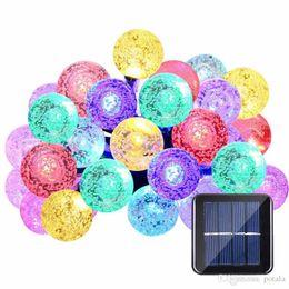Led Şerit 30 LED Kristal Top Işık Dize Güneş Enerjisi Lambası Küre Peri Işık için Bahçe Parti Ev Noel Noel Dekor Dekorasyon BEYAZ