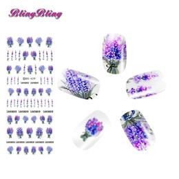 $enCountryForm.capitalKeyWord UK - 2sheets Lavender Flower Nail Sticker Purple Blooming Water Decals DIY Design Nail Art Transfer Decals Floral Water Slide Decor