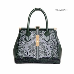 chinese handbags fashion UK - 2018 New Fashion Embossed Leather Women Handbag Quality Pu Leather Women Vintage Shoulder Bag Chinese Style Ladies Bag