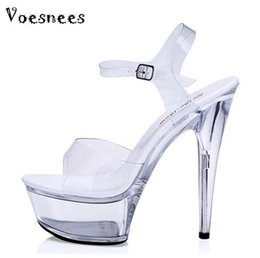 Shoes Woman Sandals Summer Style 2017 Transparent Crystal Sandals Sexy Waterproof  Super High Heel 13-15cm Plus-size 35-44 64836051f230