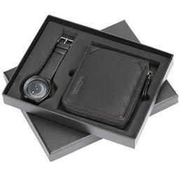 Giradischi Orologi creativi + Portafoglio con cerniera nera Set regalo di Natale Scatola orologio da polso in pelle a fascia Orologio da uomo per fidanzato Padre 2018