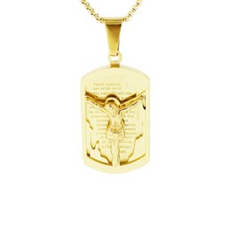 $enCountryForm.capitalKeyWord UK - Religious Jewelry Mens Gold Color Lord's Prayer & Crucifix Jesus Piece Christ Dog Tag Pendant Stainless Steel Boy's Necklace