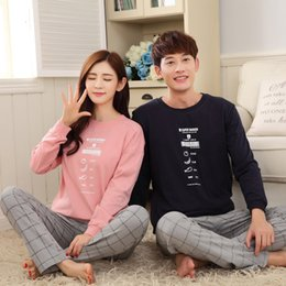 36f0228d3b Spring Leisure Couple Pajama Sets Men Pyjamas Full Sleeved Nightgrown Round  Neck Women Pijamas Special Design SleepWear Homewear