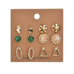 Earrings Korean Wholesalers NZ - 12 pcs of card korean style stud earring mix design fashion women diamond earrings new arrival gemstone flower earings jewelry
