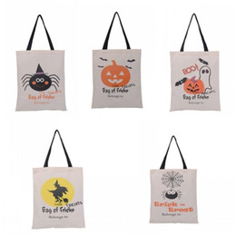 wholesale shopping bag designer Canada - Pumpkin Pattern Reusable Shopping Bag Halloween Theme Beach Bags Trick Or Treat Spider Designer Candy Storage Containers Canvas ZZ
