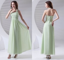 wedding dress beach lilac NZ - Green Simple Cheap Chiffon Bridesmaid Dress Halter Neck Floor Length Maid of Honor Wedding Guest Dresses Cheap Long ZPT411