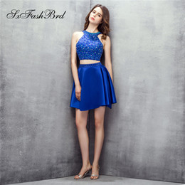 $enCountryForm.capitalKeyWord NZ - Fashion Occasion Elegant O Neck With Beading Crop Top Mini Short Satin Party Formal Evening Dresses for Women Two Pieces Prom Dress Gowns