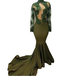 Lace Applique See Through Mermaid UK - Long Sleeve Mermaid Prom Dresses 2018 For African Black Girls 2017 Sexy High Neck Lace Chapel Train Beautiful See Through Party Gowns
