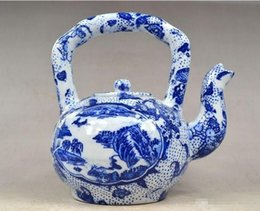 Chinese Porcelain Pendants Australia - Wholesale - Collectible Chinese JINGDEZHEN Porcelain Handwork Painting Landscape Big Tea Pot