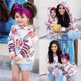 New Puseky Family Matching Clothes Mother Daughter Floral Stripe Print  Hooded Top Hoodie Autumn Parent Child Match Outfits 0a4b8fd88