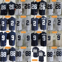 e105d1d5181 Youth Penn State Nittany Lions  26 Saquon Barkley 9 Trace McSorley Kids  2   88 No Name Navy Blue White College Football Stitched Jerseys
