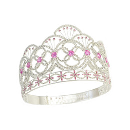China Crown Miss Teen USA Pink colour CZ Stone Rhinestone Crystal Adjustable Headband Bridal Wedding Hair Jewelry Tiaras Pageant Queen Crown Mo237 cheap queen wedding tiaras suppliers