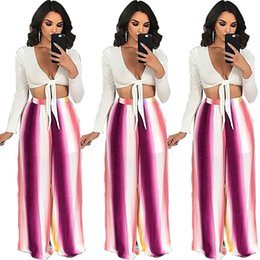 Discount striped yoga pants - 2018 Fashion Casual sports Pants sexy color striped print Yoga Fitness wide-leg pants Women loose trousers plus size Boh