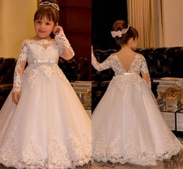 Gowns For Flower Girls NZ - JaneVini White Long Sleeves Flower Girls Dresses For Weddings 2018 Princess Bateau Ribbon Sash Lace Kids Wedding Gowns Vestidos Comunion
