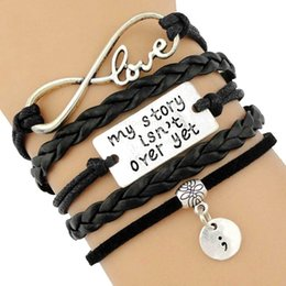 $enCountryForm.capitalKeyWord Australia - My Story is not over yet Semicolon Sister Heart Infinity Eiffel Tower Moon Butterfly Mermaid Charm Bracelets Women Men Jewelry