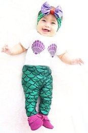 $enCountryForm.capitalKeyWord NZ - Hot Sale Baby Girls Mermaid Swim Sets 3pcs Shell Tops T-shirt + Mermaid Leggings Pants + ins Headband Outfits Set Girl 0-24M in 2018