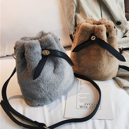 6a10b0de0a Vintage Women Shoulder bucket Bags Top Korean fashion Ladies Crossbody Bag  Faux Fur Plush Cony Hair small hand bags Female