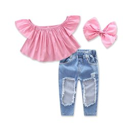 Wholesale Net Clothes NZ - Summer Children Girls Off shoulder Pink T-shirt Tops and Hole Net Jean Denim Pant Headband 3PCS Clothing Set New Style Hot Sales