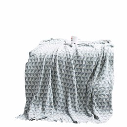 knit throw patterns NZ - Blue White Rectangular Pattern Weighted Blanket Thick 1pc Throw Blanket On Sofa Bed Plane Travel Plaids Adult Home Textile Cobe
